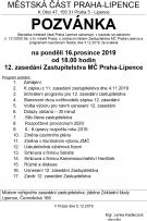 Pozvánka na 12. zasedání ZMČ