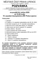 Pozvánka na 15. zasedání ZMČ Praha-Lipence